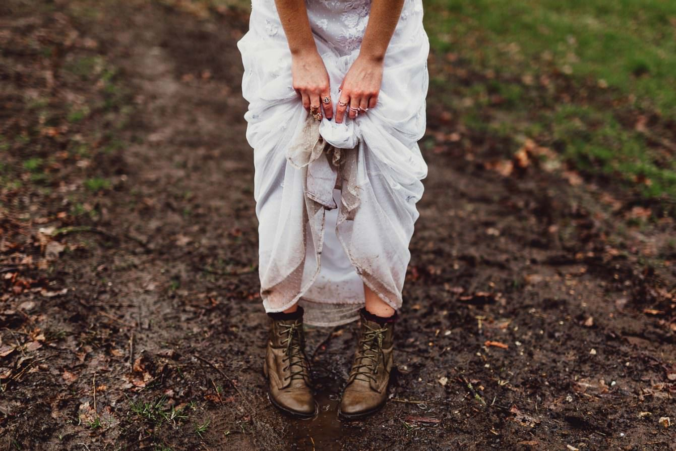 Norfolk norwich  wedding muddy dress and boots boho bride