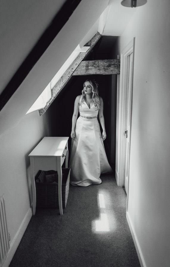 Norfolk norwich  wedding bride walking down corridor
