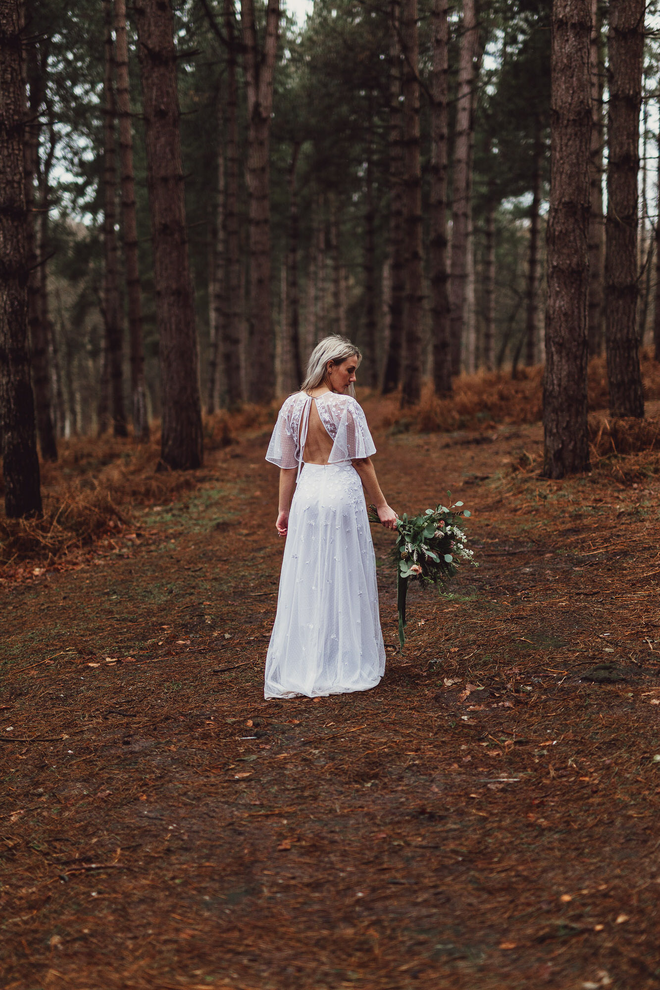 Norfolk norwich  wedding bride in woodland boho