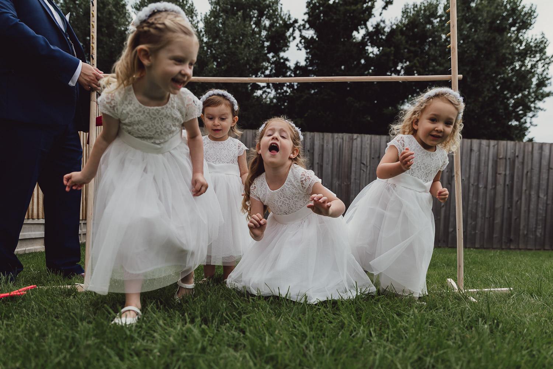 Norfolk norwich  wedding flower girls playing