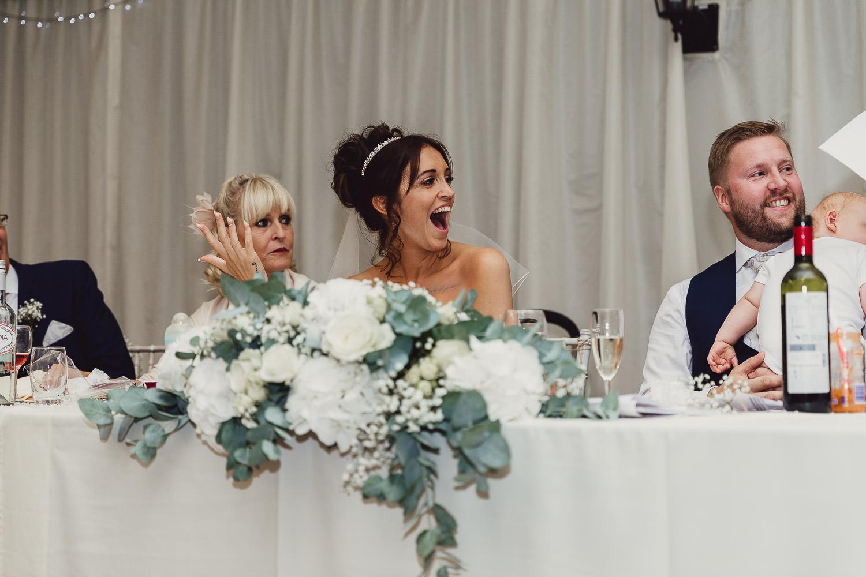 Norfolk norwich  wedding bride laughing at speeches