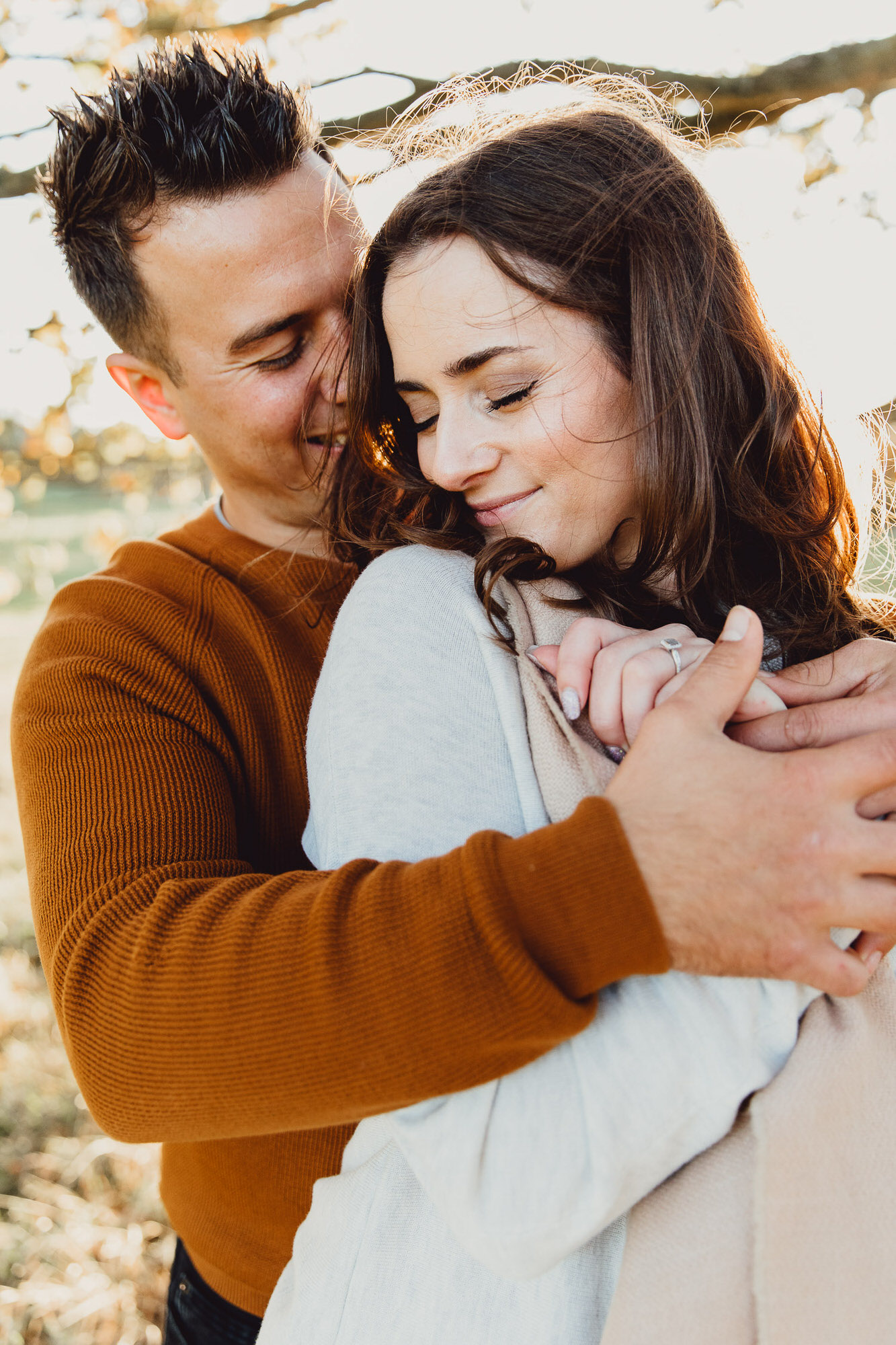 Engagement shoot Norfolk golden hour autumn sunset woodland lakeside