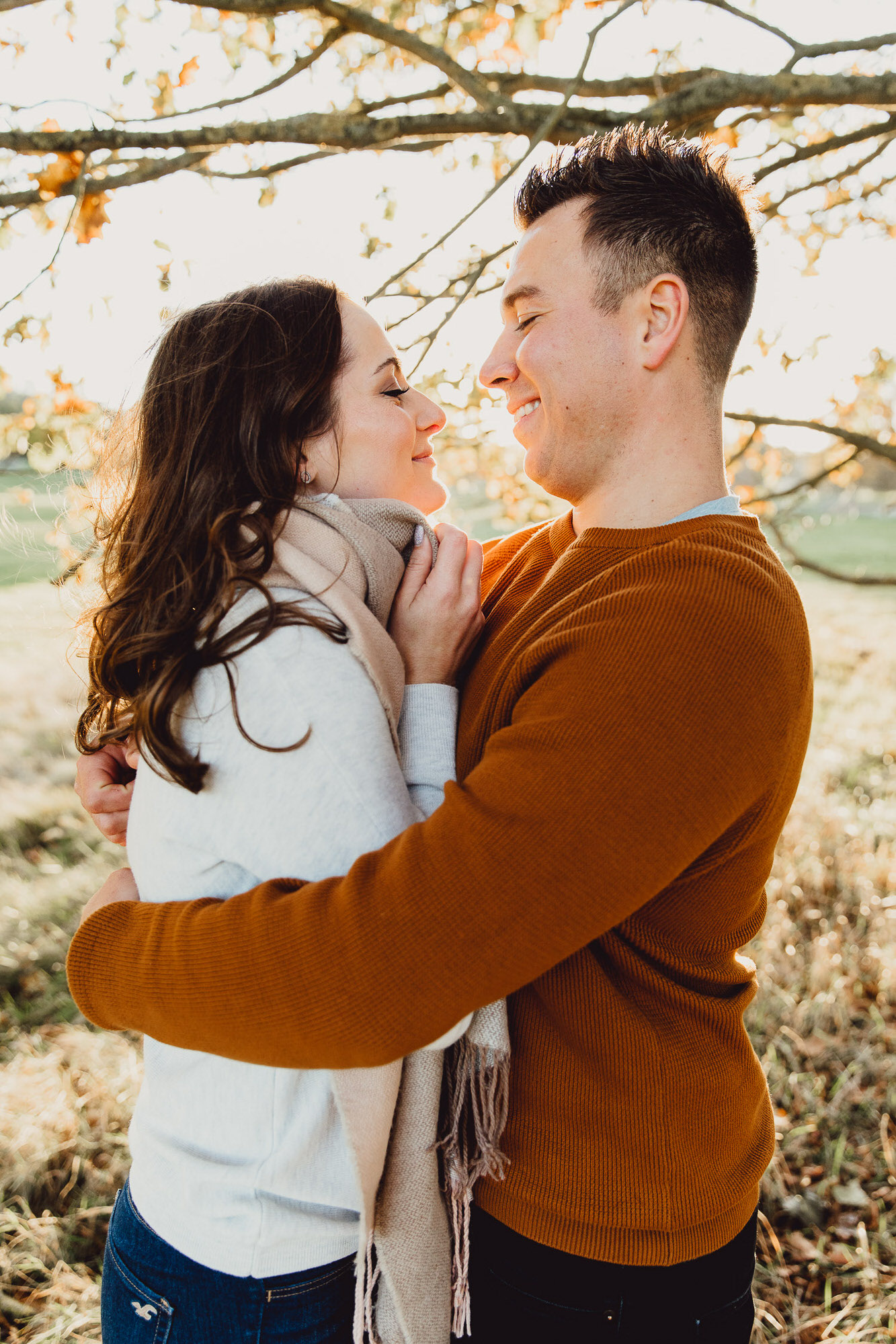 Engagement shoot Norfolk golden hour autumnal tree sunset