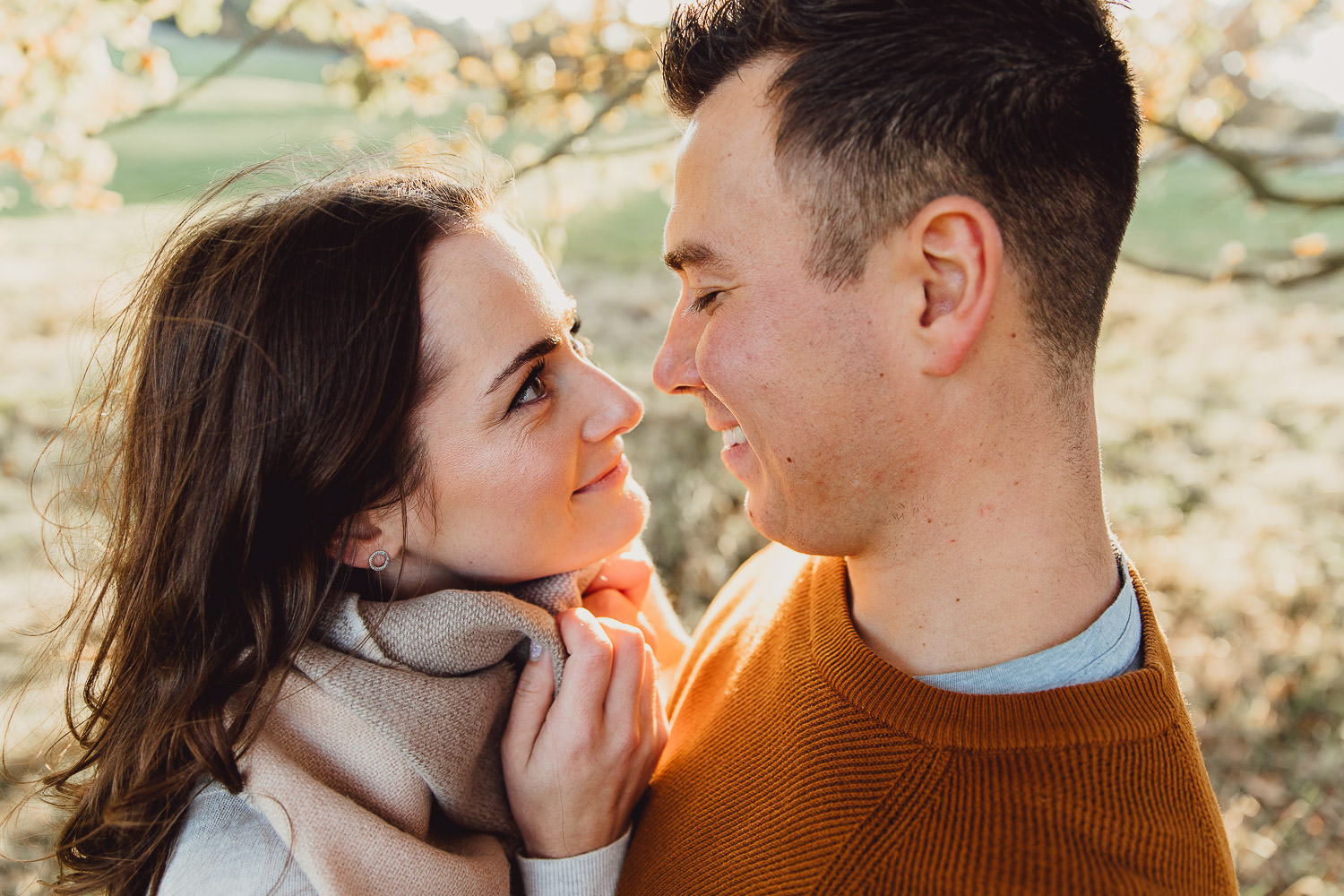 Engagement shoot Norfolk golden hour autumn