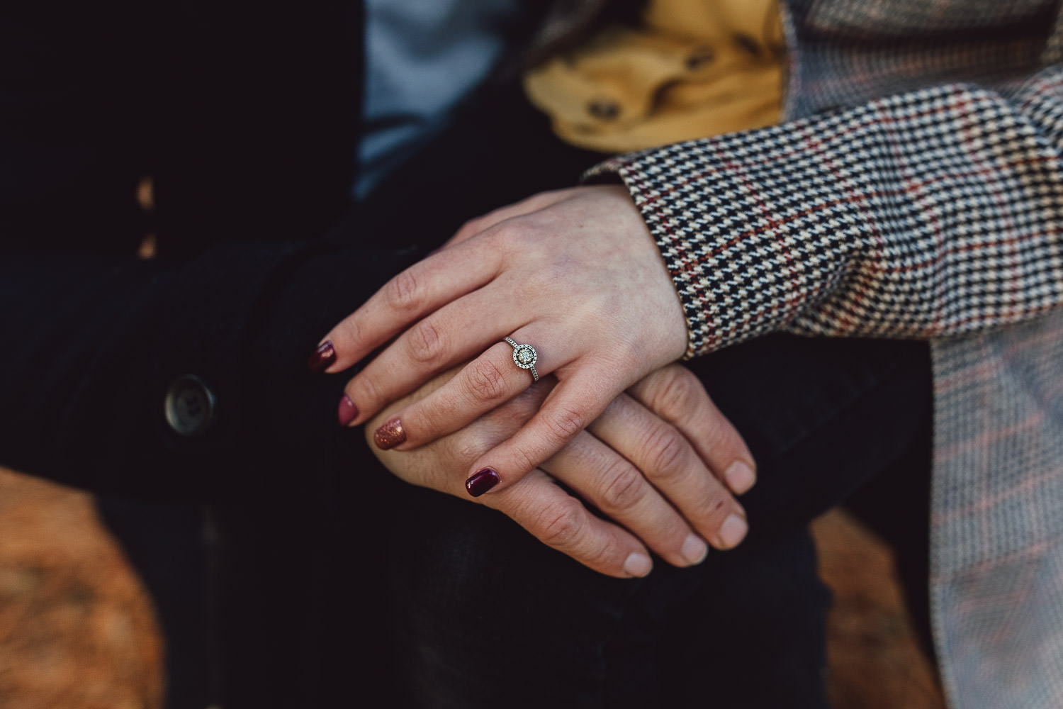 Engagement shoot  autumn woodland engagement ring