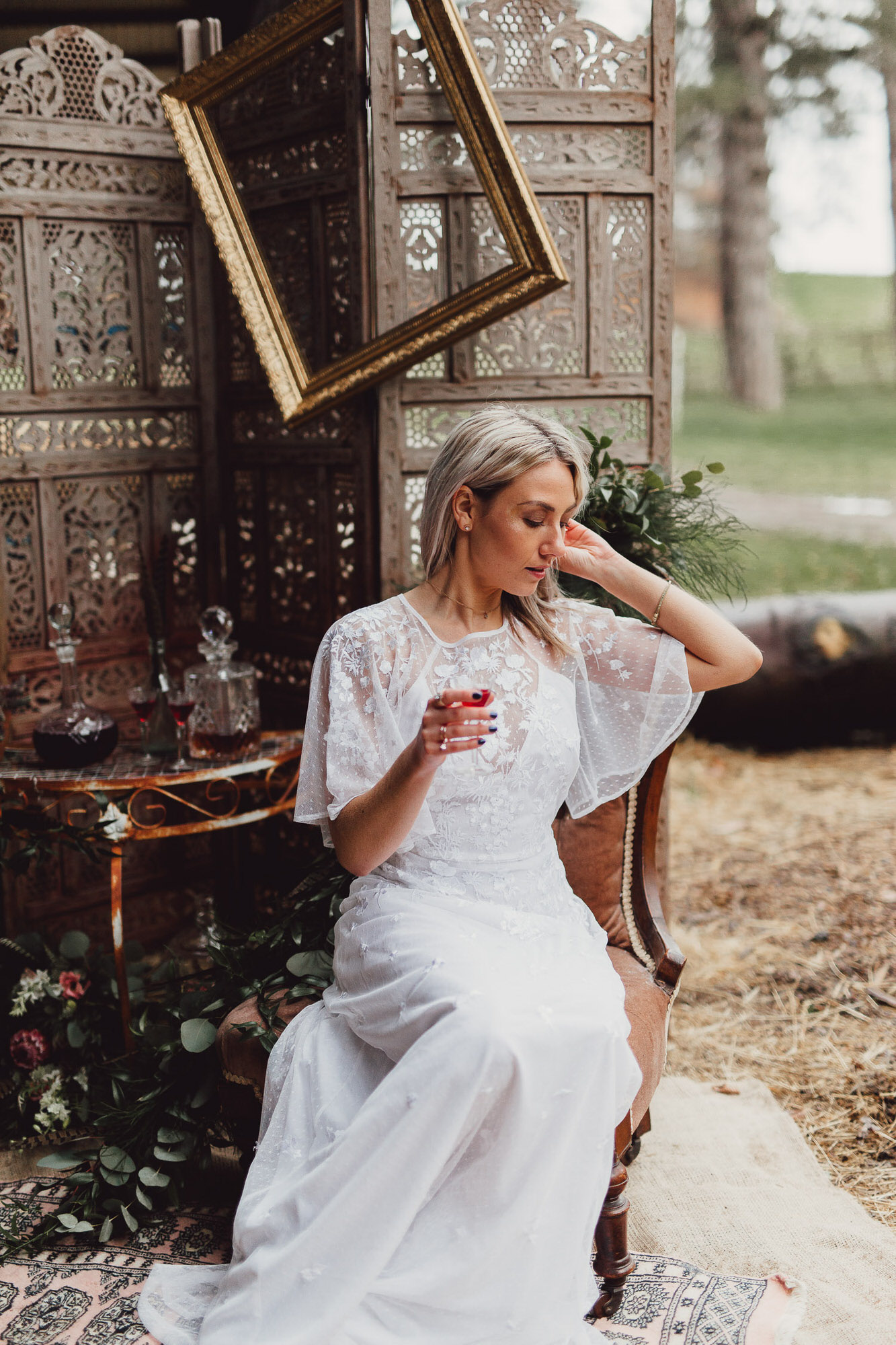 country boho luxe wedding norfolk bride at whiskey bar