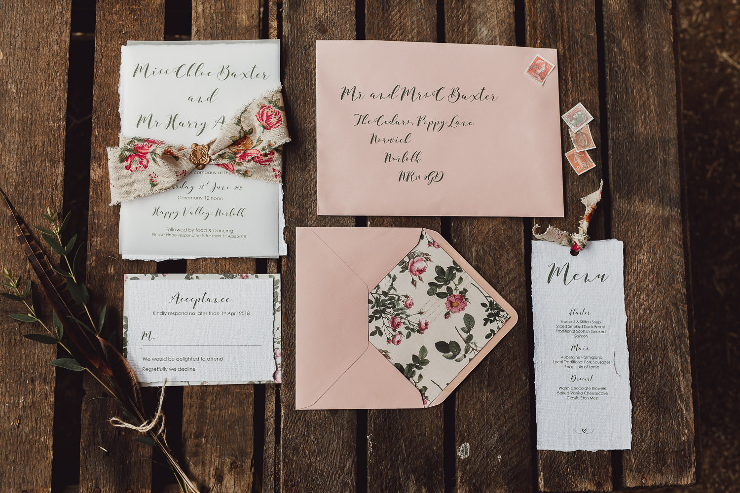 country boho luxe wedding norfolk stationery