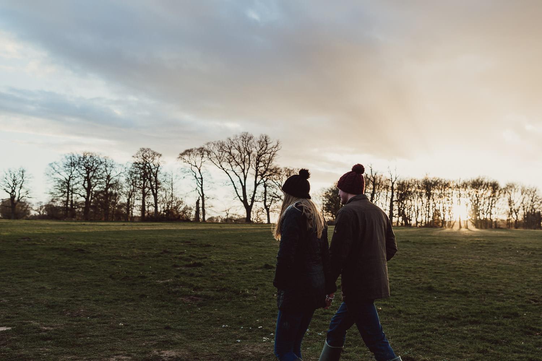 Norfolk woodland and Lake engagement shoot at sunset